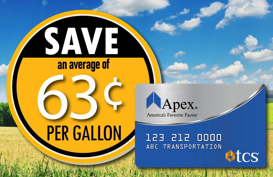 Save 63 cents on fuel with the Apex Fuel Card