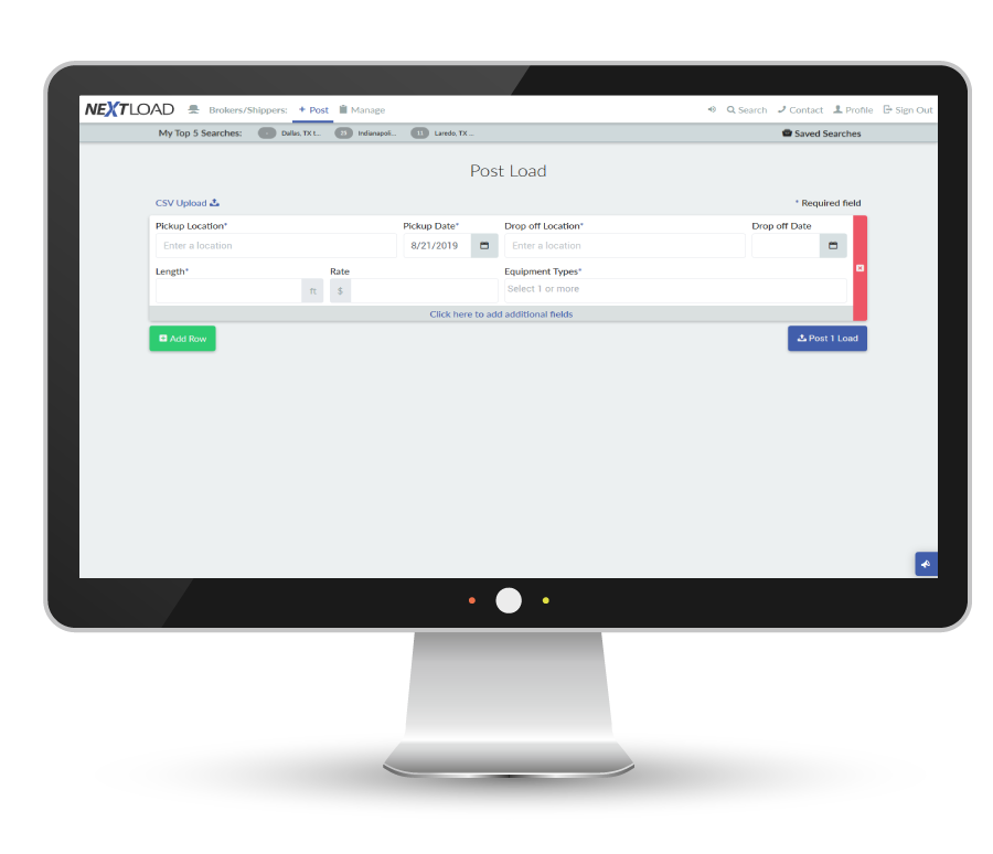 Brokers and shippers can post loads on Nextload for free